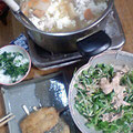 けんちょう 豚と香味野菜サラダ 大根葉ご飯 アジフライ
