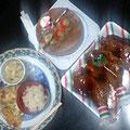 鶏の照り焼き キノコの炊き込みご飯 手作りピザ コンソメスープ