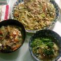 皿うどん 水菜の煮びたし