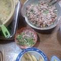 水菜と牛肉のサラダ 豚汁 ポテトフライ