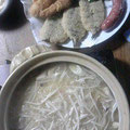 もやし鍋 串揚げと魚フライ