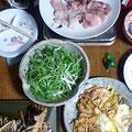 刺身 サラダ 豚天の卵とじ