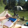 pêche et peinture font bon ménage à La Chagnée