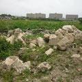 敷地内の地中障害になっていた石も・・(ビフォー)