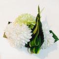 和装用ヘッドドレス/ホワイトマム、ライムグリーンマム、葉蘭など使用。 (オーダー品)