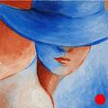 "Red lips 2. Cardboard, acrylic, 6""x6"", 2012"