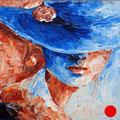 "Red lips. Cardboard, acrylic, 6""x6"", 2012"