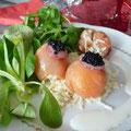 bonbons de fruits de mer, crème de citron et panais