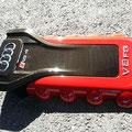 Audi Motorabdeckung (Carbon mit rot/orange Lackierung)