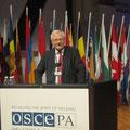 Egon Jüttner am Rednerpult im Plenarsaal der OSZE-Jahrestagung in Helsinki