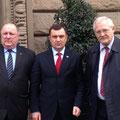 Egon Jüttner mit seinem Kollegen im Ausschuss für Menschenrechte und Humanitäre Hilfe, Heinrich Zertik MdB und dem Vorsitzenden des Menschenrechtsausschusses im ukrainischen Parlament, Valeriy Patskan