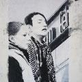 "Anja Kühnrich-Wilke, ""Alex III"", 2009 Linoldruck, Pastellkreide, 21 x 28,9 cm"