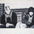 "Anja Kühnrich-Wilke, ""Friedrichstraße II"", 2009 Linoldruck, Pastellkreide, 21 x 29,5 cm"