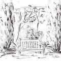 Espace de repos intime - Bois des Moutiers à Varengeville -  Graphite aquarellables