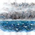 Mer agitée - Aquarelle