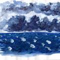 Mer agitée - Gouache