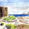 Rivage méditerranéen - Corse - Crayons auarellables