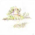 Etang du hameau de la Reine - Versailles - Crayons de couleur