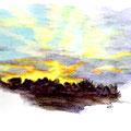 Coucher de soleil - Corse - Crayons auarellables