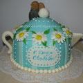 Торт-чайник на фарфоровую (ромашковую) свадьбу, 3, 5 кг