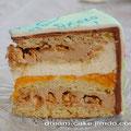 Бархатный бисквит, шоколадный крем с карамелизированными орехами, прослойка из кураги и нежный мусс-шибуст