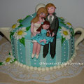 Торт-чайник на фарфоровую (ромашковую) свадьбу, 3,5 кг