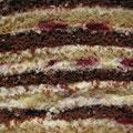 Светлый и шоколадный бисквит, нежный сливочно-творожный крем, вишня