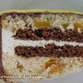 Светлый и шоколадный бисквиты, сливочный и карамельный муссы, персики