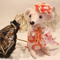 Мышка-дама Sophie, ~16 см. Нос - авторский лэмпворк Алины Разумковой.