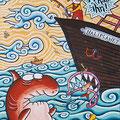 "Anja Mattenklott: ""Der weiße Hai"", 40 cm x 50 cm, 1998"
