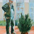 """Anja Mattenklott, """"Mann mit Buchsbaumballen"""", 50 cm x 70 cm"""