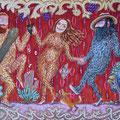 """Anja Mattenklott, """"Die wilde Frau tanzt mit den wilden Männern"""", 100 cm x 70 cm"""
