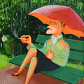 "Anja Mattenklott, ""Raucherin im Regen"", 30 cm x 40 cm"