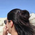 pic à cheveux ou épingle à cheveux en métal double et amethyste