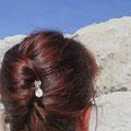 épingle à chignon, ou pic à cheveux double en métal argenté et pierre de lune