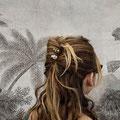pic à cheveux ou épingle à cheveux double en métal, orné d'une tête de mort ( doré ou argenté)