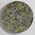 Rotschwänzchen im Frühling / Redstart in Spring, Oil on Aluminumbowl, D44cm