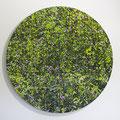 Bläuling im Rotklee, Oil on Aluminium, D90cm