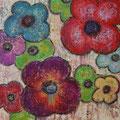 Flowers 8, mixed media on canvas, 36x36, Janet Hamilton