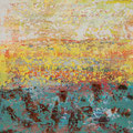 Abstract Landscape F, oil, waax, latex, spray paint on canvas, 24x24, Janet Hamilton