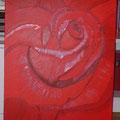 "Rote Rose ""Die Schöne""  75x50 Acryl/Keilrahmen  75 €"