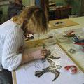 les colombes en mosaïque de Christine, son premier ouvrage