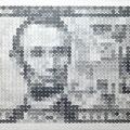 5ドル=3060円_72.0×170.0cm_麻紙 鉛筆 一円硬貨/フロッタージュ_2016