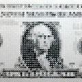 1ドル=4158円_84.0×198.0cm_麻紙 鉛筆 一円硬貨/フロッタージュ_2015