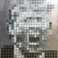 444円の大統領_53.0×45.5cm_麻紙 アルミ箔 鉛筆 一円硬貨/フロッタージュ_2017