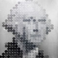 Face of money -George-(368円の男)_53.0×45.5cm_麻紙 アルミ箔 鉛筆 一円硬貨/フロッタージュ_2016
