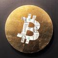 Bit coins on the dollars_φ33,3cm_麻紙、1ドル紙幣、金属箔_2019