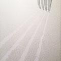 米とフォーク_72.7×60.6cm_麻紙 パール顔料 アルミ箔 胡粉 墨_2014