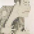 613円の男_65.2×53.0cm_麻紙 アルミ箔 鉛筆 一円硬貨/フロッタージュ_2017