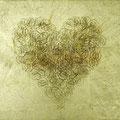 Heart of gold?_24.2×33.3cm_厚美濃紙 金箔 色鉛筆 一円硬貨/フロッタージュ_2013